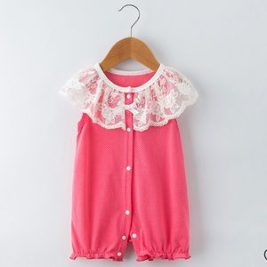 Pink Baby Embroidered Style Bowknot Decor Bodysuit